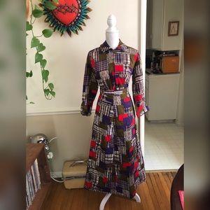 60s Plaid Vintage Skirt Set Sz M-L